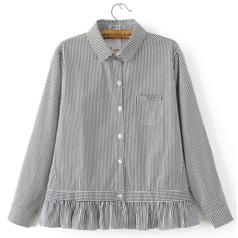 7b5853e8c6c ... Women sweet striped loose shirts full cotton long sleeve turn down  collar blouse pleated casual office ...