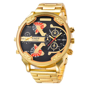 XINEW Luxury Original Brand Men Full Steel Watch Gold Big Dual time Date Casual Watches Military Wristwatch Relogio Masculino