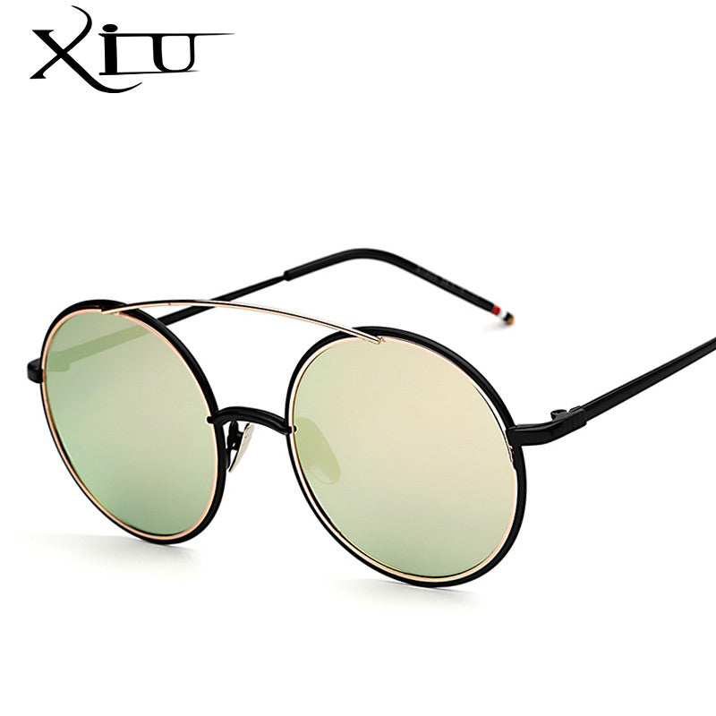 619b9ee9f8d2 ... XIU Round Sunglasses Men Women Clear Eyeglasses Retro Vintage Brand  Designer Sunglasses Twin Beam Top Quality ...