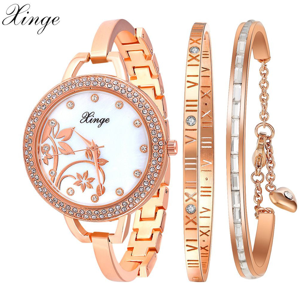84ce09b68a9 Xinge Famous Brand Fashion Women Bracelet Watches Rose Gold Luxury Flower  Wristwatch Set Women Dress Clock ...