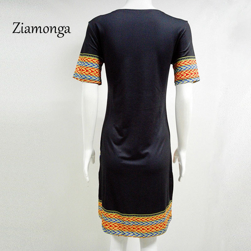 970c2ddecd8 ... Ziamonga Dashiki Dress 2017 Summer Sexy African Print Shirt Dresses  Female Vintage Mini Hippie Plus Size ...