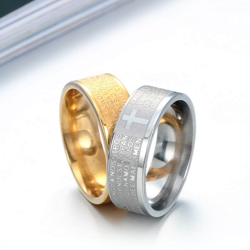 gold color Christian Bible Scripture Corrosion Finger Rings For Man Women  Top Quality Jewelry Wholesale