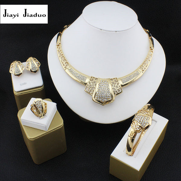 e6f24e31f7a jiayijiaduo African Beads Jewelry Sets Wedding Gold-color Crystal Necklace  Party Women Fashion Bridal Ring