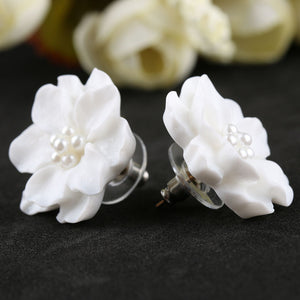 [maxgoods]1Pair New Fashion Big White Flower Earrings For Women Jewelry Elegant Gift  Ear Studs Jewelry Gift