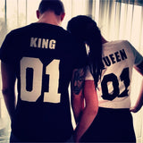 2016 Valentine t shirts Woman O-neck Cotton King Queen 01 Funny Letter Print Couples Leisure T-shirt Man Short Sleeve T-shirt - Raja Indonesia
