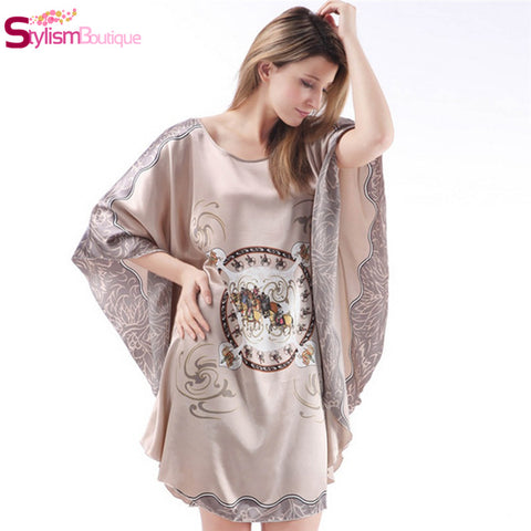2016 New Summer Style Womens Robe Batwing Sleeve Nightie Dress Home Clothes Nightgown Female Sleepwear Nightwear Sarafan - Raja Indonesia