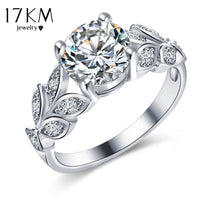 17KM Silver Color Crystal Flower Wedding Rings For Women Jewelry Bague Bijoux Gold Color Femme Engagement Ring Accessories - Raja Indonesia