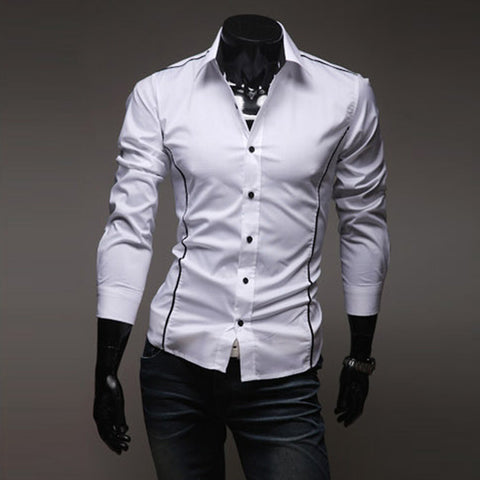 T-Shirt Pria Hot Mens Shirts Men's Dress Shirt Casual Slim