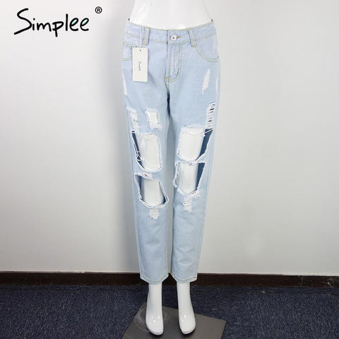 Celana wanita  ripped jeans women pants Cool denim vintage straight jeans for girl Mid waist casual pants female - Raja Indonesia