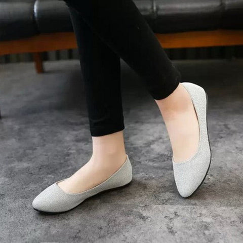 Hot Summer Fashion Simple Single Women Shoes Candy Color Glitter Ballet Ballerina Pointed Toe Flats Casual Slip On Loafers Shoes - Raja Indonesia