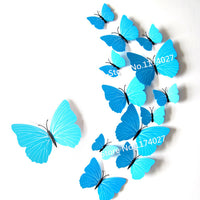 12 Pcs/Lot PVC 3D DIY Butterfly Wall Stickers Home Decor Poster for Kitchen Bathroom Fridge Adhesive to Wall Decals Decoration - Raja Indonesia