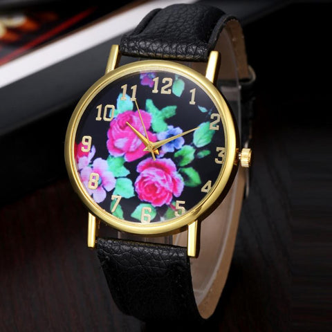 Relogio Masculino erkek kol saati reloj mujer  Flower Printed Dial Quartz Wrist Watch Women Clocks Lady Pu Leather Wristwatches - Raja Indonesia