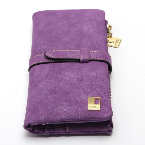 2016 New Fashion Women Wallets Drawstring Nubuck Leather Zipper Wallet Women's Long Design Purse Two Fold More Color Clutch - Raja Indonesia