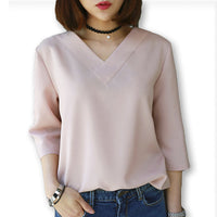 2016 Summer Tops V-neck Chiffon Blouse Shirt Women Office Ladies Top Work Shirts Clothing Korean Plus size S-XL White Blue Pink - Raja Indonesia