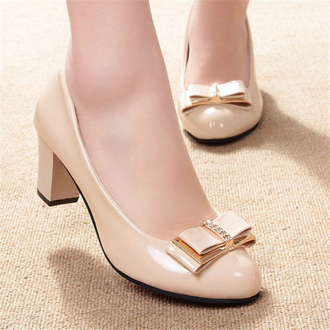 free shipping 2016 Women's shoes Work shoes spring and autumn bow low low-heeled shoes thick heel casual female leather - Raja Indonesia