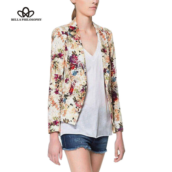 2016 new spring flower floral print jacquard Slim single button blazer suit jacket from work to causal - Raja Indonesia