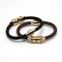 2016 Wholesale New Fashion Punk Genuine Skull Leather man Bracelet for Man Women in colors with twin skull design Men Bangles - Raja Indonesia