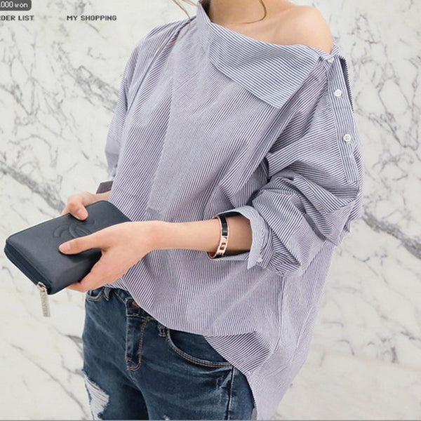 2017 New Spring Fashion Women Shirts Batwing Full Sleeve Striped Loose Oblique Collar Blouse Shirt Top Blue 1269 - Raja Indonesia
