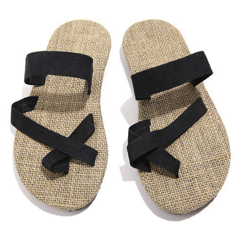 hot sale natural man hemp flip flops summer breathable fashion beach sandal shoes men's casual canvas slides shoes free shipping - Raja Indonesia