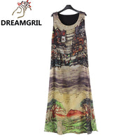 2016 Summer Style New Europe And America Women Sleeveless O-neck Hand Painted Landscapes Beach Sundress Long Vestidos Plus Size - Raja Indonesia