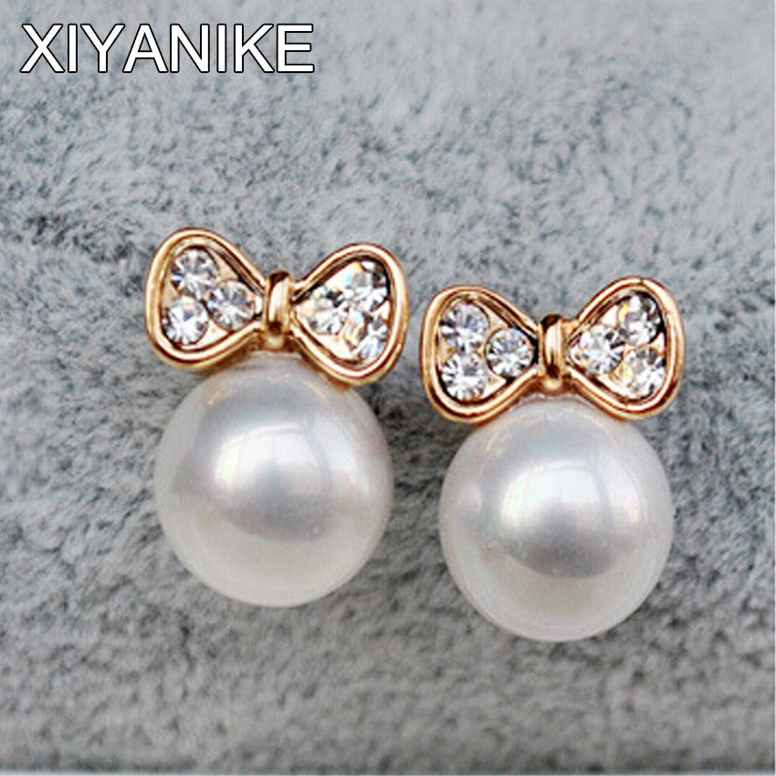2016 New Fashion Korean Jewelry Gold Plated Butterfly Bow Knot Pearl Stud Earrings For Women Wholesale Price Brincos XY-E136 - Raja Indonesia