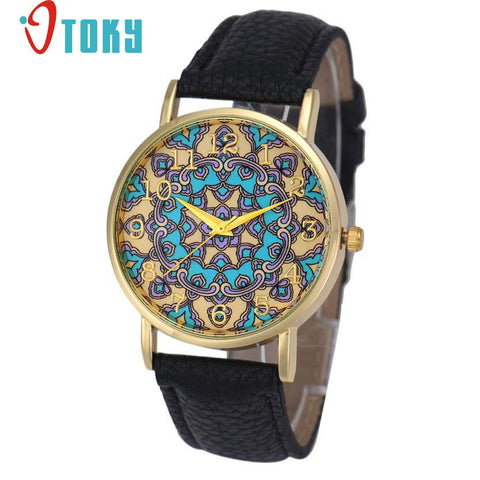 Hot Hothot Sales  Watch Women Faux Leather Flower Pattern Analog Quartz  Casual watches relogio feminino bayan kol saati jy28 - Raja Indonesia