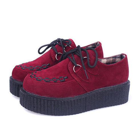 Creepers Platform Shoes Woman Flats Shoes Sapatos Mujer Creepers Shoes Black - Raja Indonesia