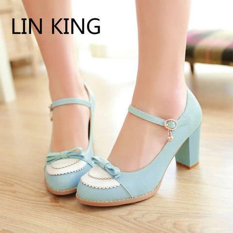 LIN KING Ladies Leather Platforms Lady Fashion Lolita Shoes Sexy Bowtie High Heel Shoes Women Pumps Wedding Shoes size 34-43 - Raja Indonesia