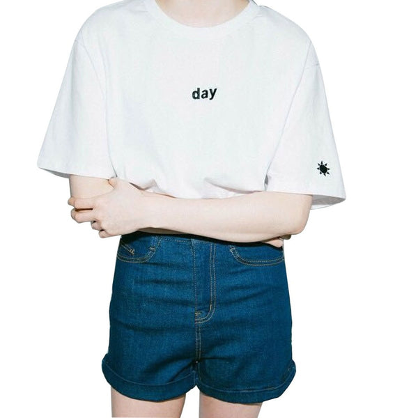 2017 New Summer Fashion Women Tshirt Harajuku style Day and Night Embroidery Female T-shirt short sleeved Sun Moon Tops camiseta - Raja Indonesia