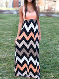 2017 Women Maxi Skirts Contrast Chevron Tank Sleeveless High Waist Casual Summer Style Skirts H788 - Raja Indonesia