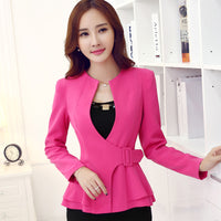 2017 Fashion work wear Jacket Women Foldable long Sleeves V-neck Coat Candy Color feminino Blazer ladies Vogue casual office top - Raja Indonesia