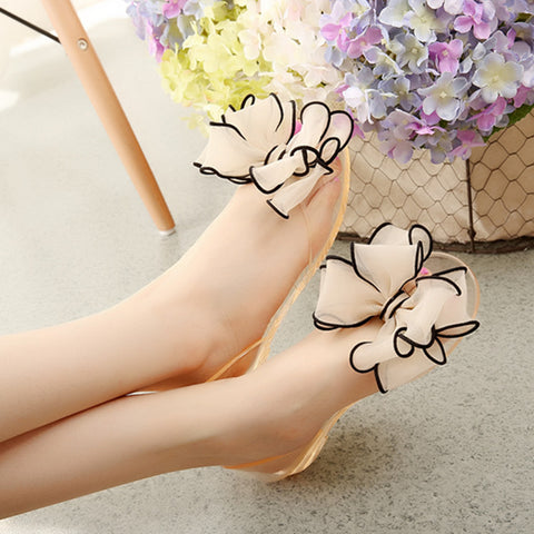 Crystal Flat Heels Transparent Women Sandals Bowtie Women 2016 New Arrival Plus Size 35-40 Peep Toe Jelly Shoes,Beauty zapatos - Raja Indonesia