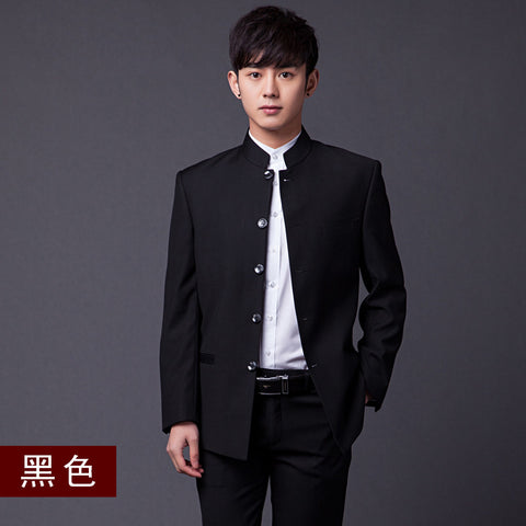 (Jacket+Pants+Tie)Men Formal Business Suits Pants Chinese Tunic Suits Black 2016 New Arrival Traditional Mandarin Plus Size - Raja Indonesia