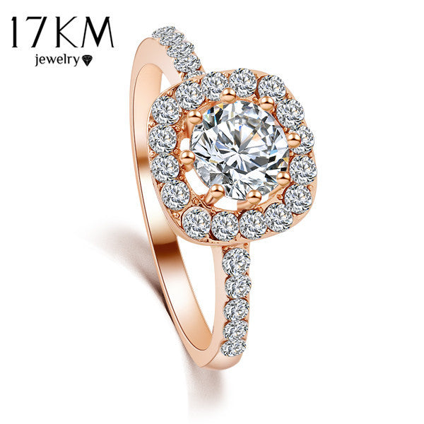 17KM Brand Design New Fashion Elegant Luxury Charm Crystal Ring jewelry gold Color  Wedding Bride Accessories for women - Raja Indonesia