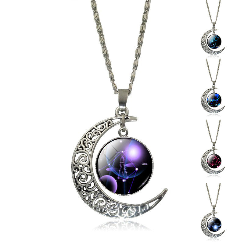 New Hot Fashion Jewelry Choker Necklace Glass Galaxy Lovely necklaces & pendants Silver Chain Moon Necklace Free shipping