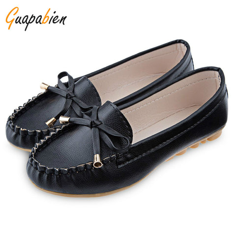 Guapabien 2016 plus size flat shoes solid color flats women PU leather female Moccasins scrub bowknot women's flats mother shoes - Raja Indonesia