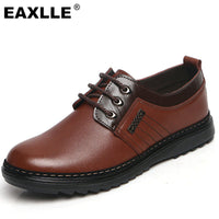 2017 Brand New Men Casual Shoes Genuine Leather Lace UP Brown/Black Dress Shoes Men Flats Zapatos Non-Slip Resistant Men Shoes - Raja Indonesia
