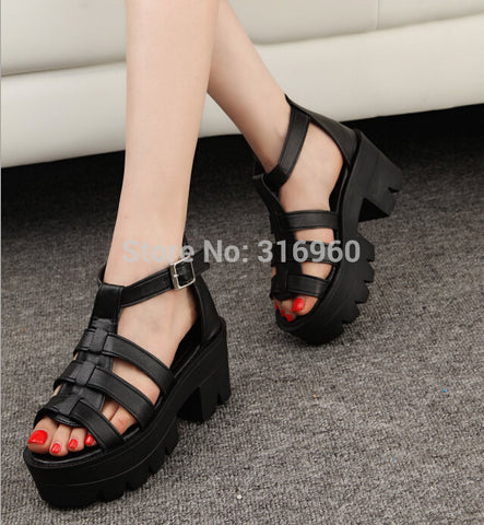 New Summer Lady Strappy Platform Block Heel Chunky Pure Buckle Leather Peep Toe Ankle High Sandals Women Gladiator Shoes A24 - Raja Indonesia