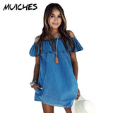 2016 Women dress New Fashion Designer Loose Slash neck Jeans Dresses Summer Casual Sleeveless ladies elegant Denim Dresses - Raja Indonesia