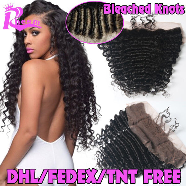 7A Cheap Brazilian Deep Wave Lace Frontal Closure Bleached Knots 13X4 Human Hair Closure With Baby Hair Free Middle 3 Part Lace - Raja Indonesia