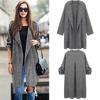 2016 Women Casual Loose Lapel Windbreaker Cape Coat Solid Linen Cardigan Loose Thin Long-sleeved Bunker Long Trench Coat Female - Raja Indonesia