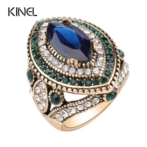 Luxury Vintage Jewelry Big Turquoise Wedding Rings For Women Plating Gold Mosaic Green Crystal 2016 New Fashion Accessories - Raja Indonesia