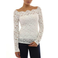 2016 Spring Fall Women White Sexy Off Shoulder Slash Neck Lace Crochet Shirt Long Sleeve Casual Sexy Floral Tunic Tops Plus Size - Raja Indonesia
