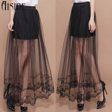 2016 New Summer sexy Jupe Tulle Maxi Skirt skirts Womens Transparent Lace Trim Asymmetrical High waist Skirt Sexy long Skirts - Raja Indonesia