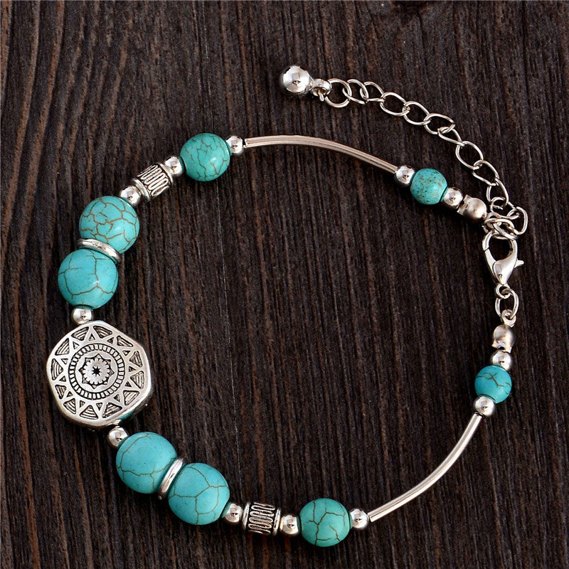 2015 New Pulseras Cuero Buddha Bracelet bangle designer Retro Style Bracelet Turquoise Round Beads Boho Bracelet for Women Girl - Raja Indonesia