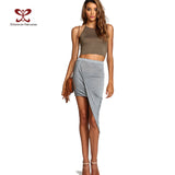 2017 Summer Women Skirt Hem Cross Fold Sexy Wrap Banded Waist Draped women skirt Cut Out Asymmetrical Pencil Skirts jupe XS-XXXL - Raja Indonesia