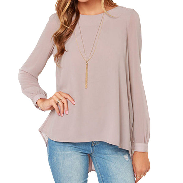 2017 New Fashion Blusas Femininas 2017 Round neck Long Sleeve Women Blouses Pink Pleated Back Women Tops - Raja Indonesia