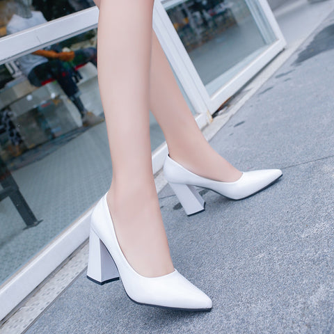 2017 New Fashion Spring size 34-39 High Heels Pumps Sexy Bride PU Women shoes Square Heel Pointed Toe High Heels Shoes women - Raja Indonesia