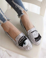 2016 Casual Fashion Women Flats Oxford Shoes Loafers Eyes Pattern Sequins Shoes Gold Silver M006 - Raja Indonesia