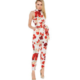 2016 Brand Ladies Bodycon Elegant Jumpsuit Romper Trousers Pants Plus Size Floral Print Summer Jumpsuit Women Combinaison Femme - Raja Indonesia